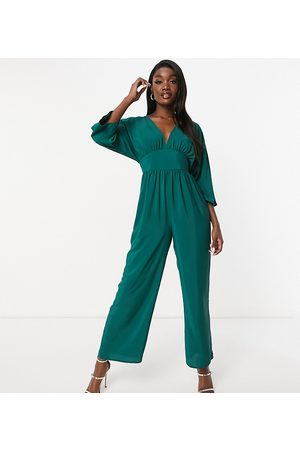 ASOS ASOS DESIGN tall kimono sleeve culotte jumpsuit in forest