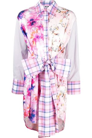 Msgm Multi-print patchwork shirt dress