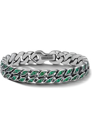David Yurman Emerald-embellished curb chain bracelet