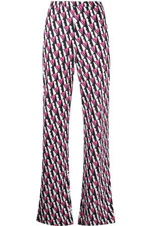 Diane von Furstenberg Caspian silk flared trousers - Neutrals