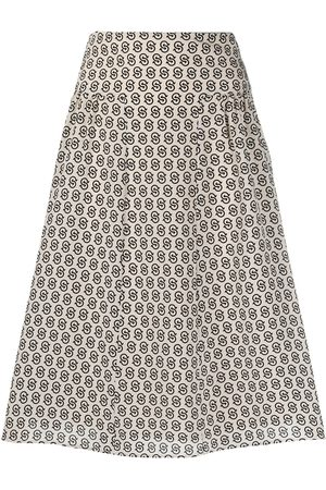 Salvatore Ferragamo Gancini S-print knee-length skirt - Neutrals