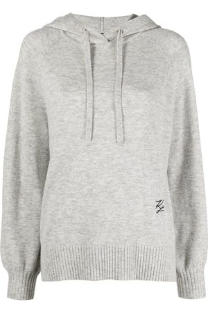Karl Lagerfeld Embroidered logo knitted hoodie - Grey