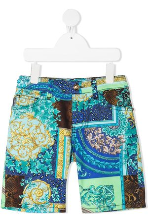 VERSACE Mixed-print baroque shorts