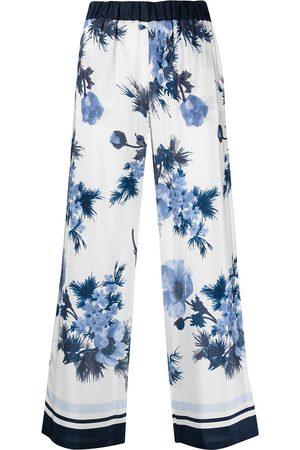 P.a.r.o.s.h. Women Wide Leg Pants - Floral-print silk wide-leg trousers