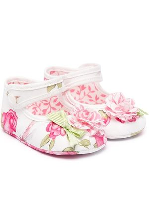 MONNALISA Girls Ballerinas - Floral print ballerina pumps with 3d floral detail