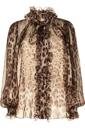 Dolce & Gabbana Women Shirts - Leopard-print silk shirt
