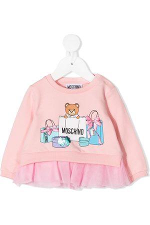 Moschino Hoodies - Graphic-print tulle-trimmed sweatshirt