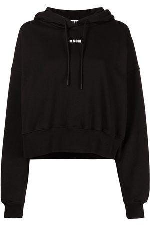 Msgm Women Hoodies - Logo-print drawstring hoodie