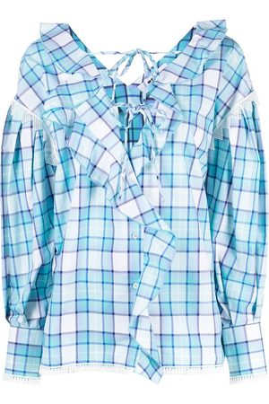 Msgm Check print blouse