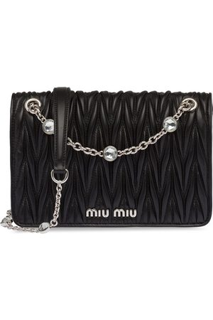Miu Miu Crystal-embellished matelassé leather cross-body bag