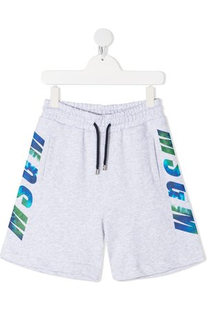 Msgm Side logo print track shorts - Grey