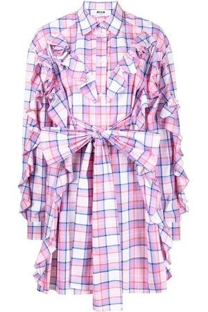 Msgm Check-print ruffled shirt dress