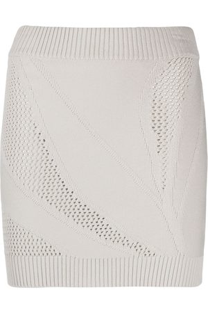 Roberto Cavalli Open-knit mini skirt - Neutrals