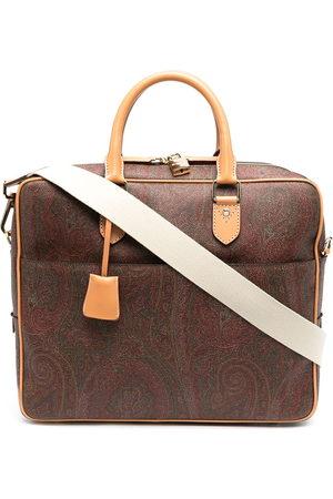 Etro Men Laptop Bags - Paisley jacquard canvas briefcase
