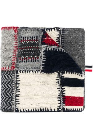 Thom Browne Men Scarves - Holiday patchwork tweed crochet scarf