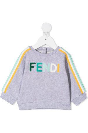 Fendi Hoodies - Embroidered-logo sweatshirt - Grey