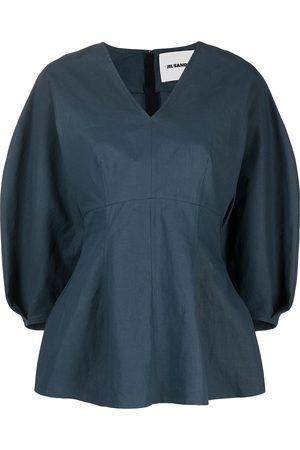 Jil Sander Women Blouses - V-neck peplum blouse