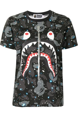 A BATHING APE® Shark-print cotton T-Shirt - Grey