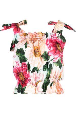 Dolce & Gabbana Women Tank Tops - Tie strap floral print cropped top