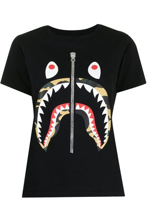 A BATHING APE® Text Stripe Shark T-shirt