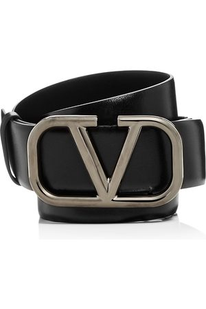 VALENTINO Men Belts - Men's Logo Buckle Leather Belt