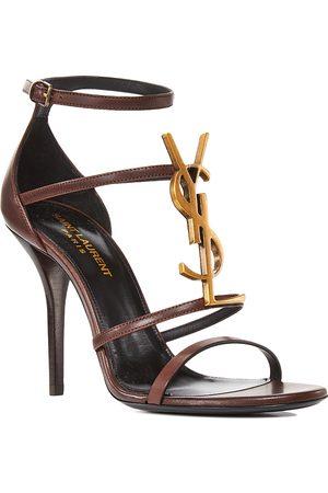 Saint Laurent Women's 100 Logo High Heel Leather Sandals