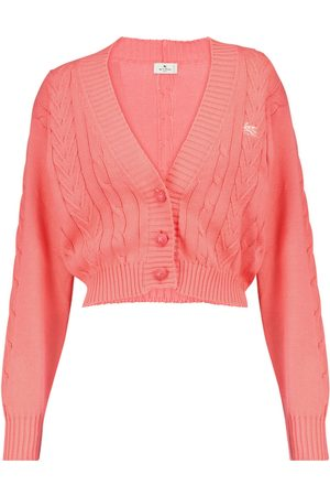 Etro Cable-knit cropped cotton cardigan