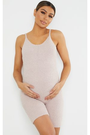 PRETTYLITTLETHING Maternity Taupe Chenille Strappy Romper