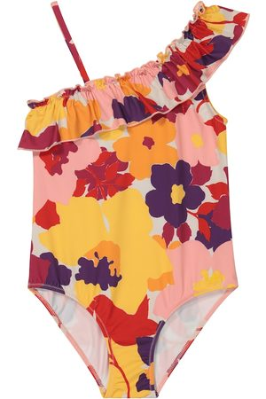 Il gufo Ruffled floral swimsuit