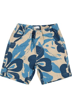Il gufo Baby floral cotton and linen Bermuda shorts