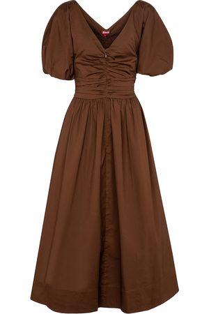 Staud Greta cotton-poplin midi dress