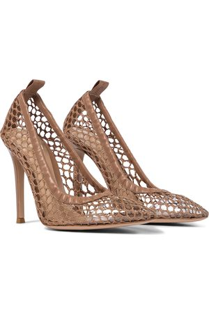 Gianvito Rossi Alisia 105 leather-trimmed mesh pumps
