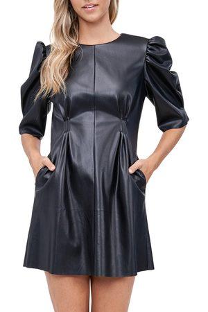 EN SAISON Women's Puff Sleeve Faux Leather Minidress
