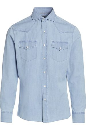 Brunello Cucinelli Men's Western Denim Shirt - Denim - Size XXXL