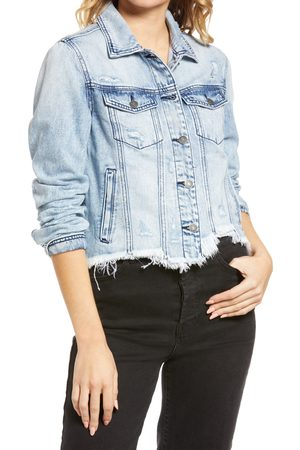 HIDDEN JEANS Women's Frayed Hem Crop Denim Jacket