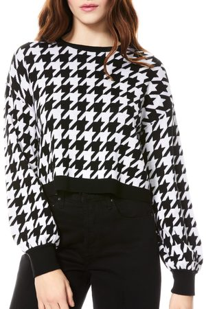 ALICE+OLIVIA Women's Ansley Houndstooth Wool Blend Crop Sweater