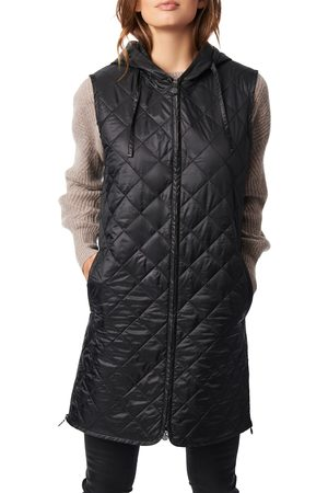Bernardo Women's Recycled Polyester Quilted Long Vest With Hood