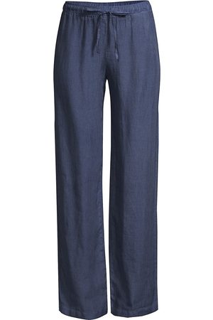 120% Lino 120% Lino Women's Linen Drawstring Pants - Dark Navy Fade - Size Small