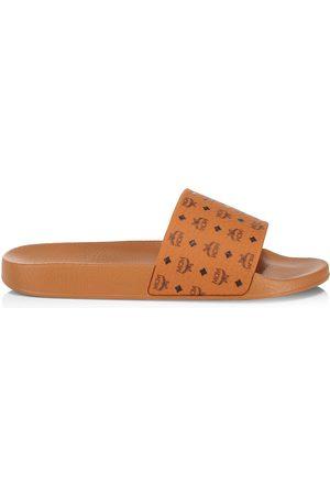 MCM Men Sandals - Men's Logo Pool Slides - Cognac - Size 13 Sandals