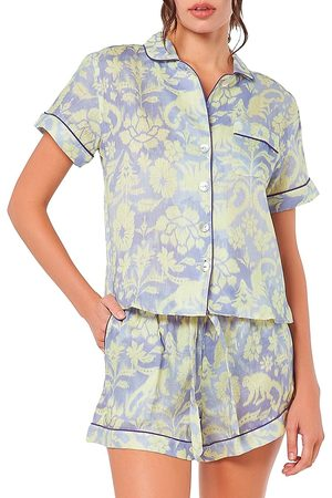 The Lazy Poet Women's Nina Sleepy Monkey 2-Piece Short Pajama Set - - Size Medium