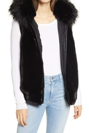 JOCELYN Women's Hooded Faux Fur Bomber Vest