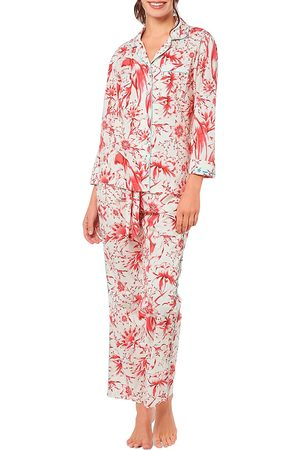 The Lazy Poet Women's Emma Tropical Paradise 2-Piece Long Pajama Set - - Size Small