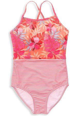 Snapper Rock Little Girl's & Girl's Sustainable Tropical Punch Classic Crossback Swimsuit - Punch - Size 10