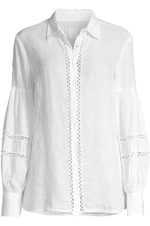 120% Lino 120% Lino Women's Embroidered Bishop-Sleeve Covered Placket Shirt - - Size Large
