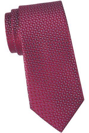 Charvet Men's Ivy Leaf Silk Tie - Dark Burgundy