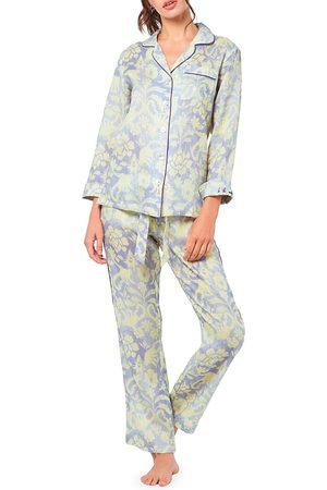 The Lazy Poet Women's Emma Sleepy Monkey 2-Piece Long Pajama Set - - Size XS