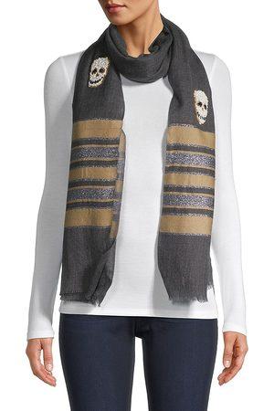 K. Janavi Women's Pearl Skulls Striped Border Wool & Silk Scarf - Charcoal