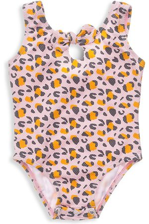 Snapper Rock Baby Girl's Leopard Love Bow One-Piece Swimsuit - - Size 12 Months