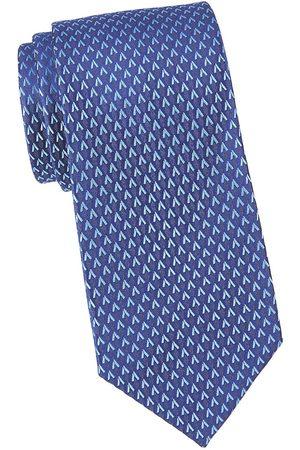 Charvet Men's Neat Allover V Silk Tie - Navy
