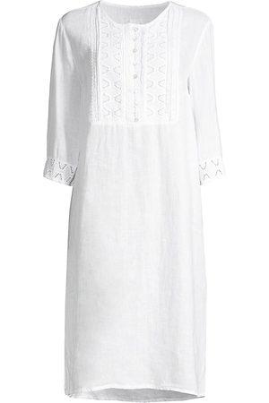 120% Lino 120% Lino Women's Embroideded Bib Kaftan - - Size XS